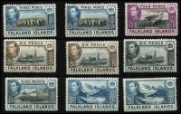 Lot 1450 [3 of 4]:1938-50 KGVI Pictorials ½d to £1 set SG #146-63 with 5/- x3 including steel blue & buff-brown (thin paper) shade (Cat £400), plus other lower denomination shades including 1/-, fine mint with many MLH/MVLH, Cat £1,000+. (26)
