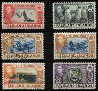 Lot 1451 [2 of 3]:1938-50 KGVI Pictorials ½d to £1 set SG #146-63 with 5/- x3 including dull blue & yellow-brown shade (on distinctive greyish paper - Cat £600), plus a few lower denomination shades, fine/very fine used, Cat £950+. (22)
