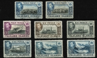 Lot 1451 [3 of 3]:1938-50 KGVI Pictorials ½d to £1 set SG #146-63 with 5/- x3 including dull blue & yellow-brown shade (on distinctive greyish paper - Cat £600), plus a few lower denomination shades, fine/very fine used, Cat £950+. (22)