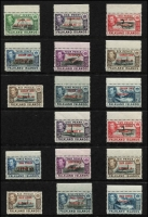 Lot 1454 [2 of 3]:1944-45 Overprints on Falkland Islands for Graham Land, South Georgia, South Orkneys & South Shetlands complete sets SG #A/B/C/D #1-8, marginal MUH plus the elusive 1945 6d shades fine mint, Cat £168. (36)