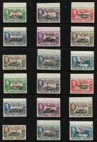 Lot 1454 [3 of 3]:1944-45 Overprints on Falkland Islands for Graham Land, South Georgia, South Orkneys & South Shetlands complete sets SG #A/B/C/D #1-8, marginal MUH plus the elusive 1945 6d shades fine mint, Cat £168. (36)