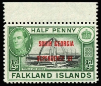 Lot 1454 [1 of 3]:1944-45 Overprints on Falkland Islands for Graham Land, South Georgia, South Orkneys & South Shetlands complete sets SG #A/B/C/D #1-8, marginal MUH plus the elusive 1945 6d shades fine mint, Cat £168. (36)