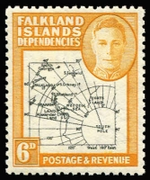 Lot 1731 [1 of 2]:1946-49 Thick Map ½d to 1/- set in marginal pairs, left-hand units variety Gap in 80th parallel SG #G1a-G8a, also scarce 6d black & ochre shade single with same variety SG #G6ea, fine mint, Cat £140+. (17)