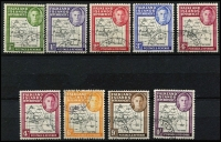 Lot 1456 [2 of 2]:1946-49 Thick Map ½d to 1/- set including scarce 6d black & ochre shade and the Murray Payne listed 4d deep lake shade, very fine used, Cat £130+. (10)