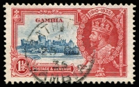 Lot 1477:1935 Silver Jubilee 1½d deep blue & scarlet variety Extra flagstaff SG #143a, fine used, Cat £475. Rare.