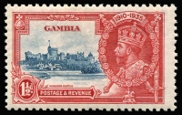 Lot 1478:1935 Silver Jubilee 1½d deep blue & scarlet, variety Flagstaff on right-hand turret SG #143d, fine mint, Cat £600. Rare.