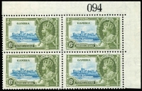 Lot 1495:1935 Silver Jubilee 6d light blue & olive-green marginal block of 4, lower-left unit variety Lightning conductor SG #145c, fine mint, Cat £310+.