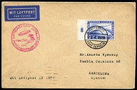 Lot 1319:1929 (Apr 29) cover to Spain franked with 2M blue Zeppelin tied with Luftschiff datestamp, cachet in magenta at left, Seville backstamps.