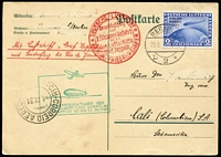 Lot 1500:1929 (Aug 29) postcard to Colombia carried on South American flight, franked with 2M blue Zeppelin optd 'POLAR FAHRT', tied by Berlin cds, cachets in red and green, arrival markings, minor blemishes, stamp alone Cat £275.