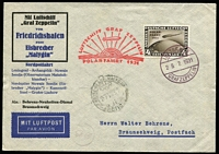 Lot 1499:1929 (25 Jul) printed cover to Germany carried on Polar flight, franked with 4M brown Zeppelin optd 'POLAR FAHRT', tied by Luftschiff cds, cachet in red, Malygin datestamp beneath. Stamp alone Cat £950.
