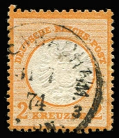 Lot 1483:1872 2kr orange, Mi #24, fine used with part Offenbach datestamp, Cat €3,200 (SG #24 £3,250). Eichele Certificate (2008).