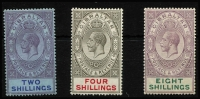 Lot 1363 [2 of 3]:1912-24 KGV Wmk MCA ½d to £1 set SG #76-85, with most Gibbons listed shades, fine mint/MVLH with key £1 value marginal MUH, Cat £375+. (15)