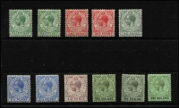Lot 1363 [3 of 3]:1912-24 KGV Wmk MCA ½d to £1 set SG #76-85, with most Gibbons listed shades, fine mint/MVLH with key £1 value marginal MUH, Cat £375+. (15)
