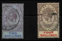 Lot 1362 [2 of 3]:1912-24 KGV Wmk MCA ½d to 8/- including ½d, 1d & 1/- (x2) shades SG #76-84, minor discolouration of reverse 4/-, key 8/- value VFU, Cat £240+. (13)