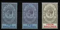 Lot 1364 [2 of 3]:1921-27 Wmk Script CA ½d to 8/- set SG #89-101, with all listed shades, plus 1930 3d inscribed 'THREE PENCE', fine/very fine mint, Cat £400+. (19)