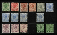 Lot 1364 [3 of 3]:1921-27 Wmk Script CA ½d to 8/- set SG #89-101, with all listed shades, plus 1930 3d inscribed 'THREE PENCE', fine/very fine mint, Cat £400+. (19)