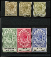 Lot 1365 [2 of 3]:1925-32 Wmk Script CA 1/- to £1 SG #102-108, including extra 1/- shade & 2/- shades, fine/very fine mint with key 10/- & £1 MUH, Cat £300+. (9)