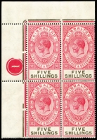 Lot 1366:1925-32 Wmk Script CA 5/- carmine & black Plate 1 corner block of 4, fresh MUH. Superb!