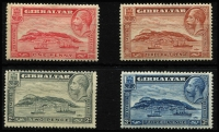 Lot 1367 [2 of 3]:1931-33 KGV Rock of Gibraltar 1d to 3d sets for both perf types SG #110-113a, 1d P14 with Plate 1 tab, P14 2d & 3d with part imprints, fine mint, Cat £113+. (8)