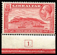 Lot 1367 [1 of 3]:1931-33 KGV Rock of Gibraltar 1d to 3d sets for both perf types SG #110-113a, 1d P14 with Plate 1 tab, P14 2d & 3d with part imprints, fine mint, Cat £113+. (8)
