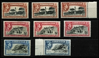 Lot 1922 [2 of 4]:1938-51 KGVI ½d to £1 set SG #121-131 largely complete for all perfs & shades, excludes 2d grey P13½ Wmk sideways but includes 1½d carmine P13½, odd minor blemish, generally fine mint, Cat £1,350+. (35)