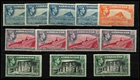 Lot 1922 [3 of 4]:1938-51 KGVI ½d to £1 set SG #121-131 largely complete for all perfs & shades, excludes 2d grey P13½ Wmk sideways but includes 1½d carmine P13½, odd minor blemish, generally fine mint, Cat £1,350+. (35)