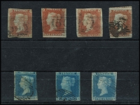 Lot 445:1840s-50s Imperf Group with 1841 1d red x4, 1841-51 2d blue White Lines Added x3, one with complete margins; condition quite variable. (7)