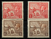 Lot 459 [2 of 2]:1924-25 Wembley both sets mint SG #430-33, also Ireland 1925-28 overprinted 2/6d Seahorse SG #83 fine mint; total Cat £120. (5)