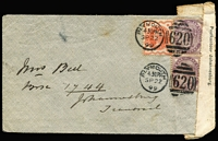 Lot 1537 [1 of 2]:1899: (Sep 22) cover from Plymouth to Johannesburg, mailed prior to outbreak of war, 'Postdepartment, Z.A Republiek./GEOPEND VOOR INSPECTIE,/ONDER//DE OOLOGSWET/Postkantoor Johannesburg.' rare censor seal applied on arrival (use recorded between 10-22 October only), minor blemishes.