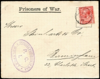 Lot 1538:1915 superb strike of large oval 'OFFICERS PRISONERS OF WAR/P.C.I./HOLYPORT' cachet in violet on 1915 printed cover addressed to Birmingham. [Holyport was a POW Camp for Officers, located near Maidenhead, Bucks]