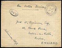Lot 1539:1918 British Forces in Russia (Dec 10) cover to England with fine strike of 'FPO/PB44' datestamp used at Bakhariza (second day of use), cover probably routed via ice-free port of Murmansk as port of Archangel ice-bound during winter. Fine & rare.