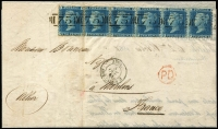 Lot 1552 [2 of 2]:1861 (Oct 2) entire letter to Moulins, France franked with 1858 2d blue Plate 9 strip of 6, tied by six strikes of BN '75' of Birmingham, transit and arrival datestamps on reverse. Rare multiple franking paying triple rate (under ¾ ounce).