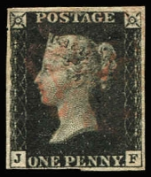 Lot 1585:1840 1d Black Plate 5 [JF] SG #2, complete margins, very close at base, lightly struck MC cancel in red. Cat £375.