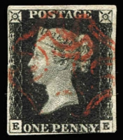 Lot 1512:1840 1d Black Plate 6 [EE] SG #2, margins complete except at base where just shaved at right, bright red MC cancel, Cat £375.