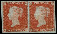 Lot 1974:1841 1d Red-Brown Blued Paper Pair [EB,EC] SG #8, complete margins, strong original colour, fine unused, Cat £1,200+.