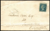 Lot 1521 [1 of 2]:1854-57 2d Pale Blue Perf 16 SG #20 tied by weak BN '285' cancel to 1854 (Sep 28) cover to Launceston, Exeter departure & Launceston arrival backstamps, Cat £110 (off cover).