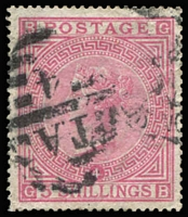 Lot 906:1867-83 QV Wmk Anchor White paper 5/- rose Plate 4 SG #134, minor perf blemishes & faint corner creases, very well centred, tidy cancel, Cat £4,200. Scarce stamp, seldom offered, Cat £4,200.