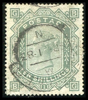 Lot 907:1867-83 QV Wmk Anchor White paper 10/- greenish grey Plate 1, SG #135, professionally improved/repaired lower left corner, few barely visible flattened creases at top, excellent centring, tidy London hooded datestamp, Cat £4,500.