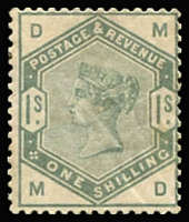 Lot 924:1883-84 Lilacs & Greens 1/- dull green SG #196, some wrinkling, mint with large-part gum, Cat £1,600.