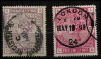 Lot 1377 [2 of 2]:1883-84 QV White Paper 2/6d lilac & 5/- crimson SG #178 & 181 fine used, plus superb used 10/- ultramarine SG #183 with Forest Hill (London S.E.) datestamp, Cat £935. (3)