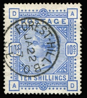Lot 1377 [1 of 2]:1883-84 QV White Paper 2/6d lilac & 5/- crimson SG #178 & 181 fine used, plus superb used 10/- ultramarine SG #183 with Forest Hill (London S.E.) datestamp, Cat £935. (3)