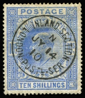 Lot 1609:1902-10 KEVII Wmk Anchor 10/- ultramarine SG #265, very fine used with 'INLAND SECTION/JY14/10/LONDON POSTL.SER' datestamp. Cat £500.