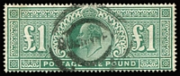 Lot 1610:1902-10 KEVII Wmk Three Crowns DLR £1 dull blue-green SG #266, tidy Guernsey cancel. Cat £825.