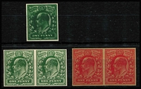 Lot 1380 [2 of 2]:1902-13 KEVII imperf Plate Proofs selection comprising 1d in red (pair) and shades of 1d green (5, including two pairs) on various no watermark, ungummed, paper types. (7)