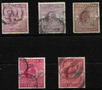 Lot 930 [2 of 4]:1902-13 KEVII High Values with 2/6d x5, 5/- x4 & 10/- x2, various shades, good to very fine used with cds or mostly tidy parcels cancels, Cat £2,500 (minimum). (11)
