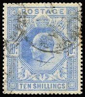Lot 930 [1 of 4]:1902-13 KEVII High Values with 2/6d x5, 5/- x4 & 10/- x2, various shades, good to very fine used with cds or mostly tidy parcels cancels, Cat £2,500 (minimum). (11)