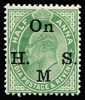 Lot 1423:1906 KEVII: ½a green variety No stop after 'M', SG #O66a, fine mint, Cat £350.