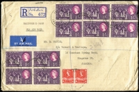 Lot 1579 [1 of 2]:1961 (May 19) Tangold Mining Co Ltd registered commercial airmail cover to Jamaica with 1/- Mt Kenya Blocks of 4 x2 & pair plus 30c Gazelle pair tied by Kiabakari datestamps, backstamp transits for Musoma, Nairobi & London plus Half Way Tree (Jamaica) arrival datestamp. Scarce origin/destination.