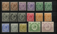 Lot 1568 [3 of 3]:1922-27 KGV 1c to £1 set SG #76-95, with all Gibbons listed shades including 3/- jet-black, a few low values with hinge remainders, very mint overall, Cat £575+. (25)