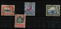 Lot 1650 [2 of 2]:1935-37 KGV Pictorials 15c (TPO cancel) plus 3/- to £1 (nibbed corner perf) SG #120-23, postally used, Cat £550+. (5)